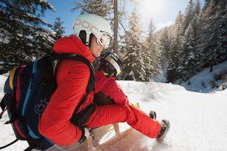 Départ de la piste de tobbogan sur neige, tubai, Tyrol, autrichien